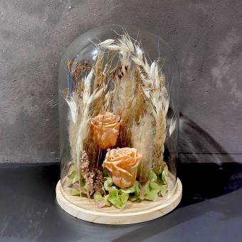 DRY-FLOWER BELL mit Holzboden in weiß-creme-lachs