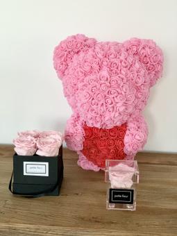 Flowerbär mit Herz in rosa