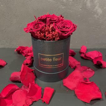 Petite Fleur Flowerbox rund Infinity Rosen in der Gold-Edition
