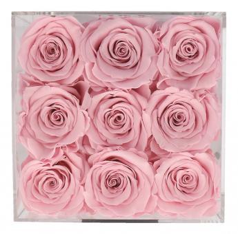 Petite Fleur Flowerbox M quadratisch Acryl 9 Infinity Rosen rosa